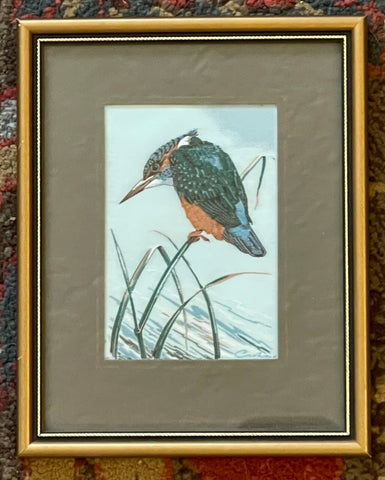 Vintage English Woven Silk Kingfisher Matted in Gold Frame