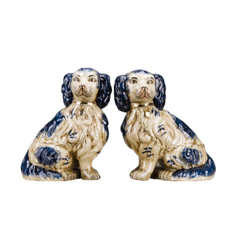 LG Pair Porcelain Blue Spotted Staffordshire Spaniel Dog Figurines King Charles
