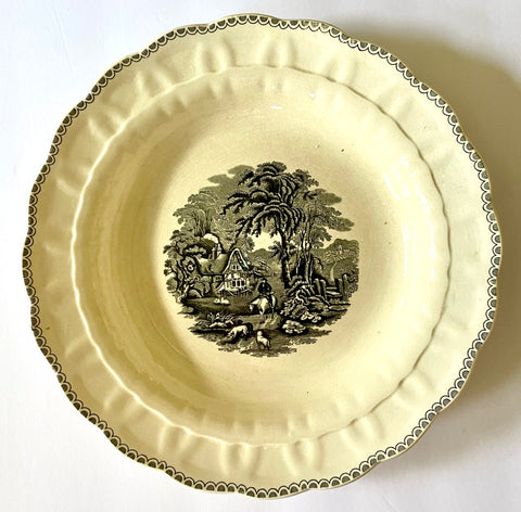 "12"" Vintage Black Transferware Plate Charger Hunter Cottage Horse"