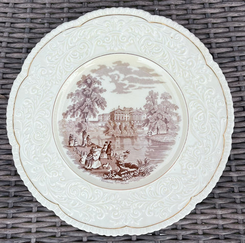 Brown English Transferware Charger Platter Serving Tray Buckingham Palace Swans River Dogs Embossed Border