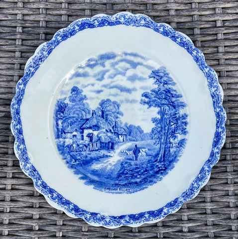 Blue Transferware Embossed Border Plate Staffordshire Rural English Cottages Sheep