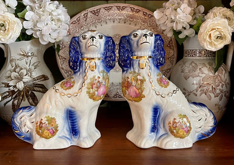 "LG 12"" Pair of Blue & Floral Romantic Chintz English Transferware Staffordshire Spaniel Dogs"