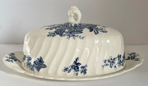 Vintage English Blue Transferware Covered Butter Dish Bountiful  Victorian Basket of Fruits & Flowers