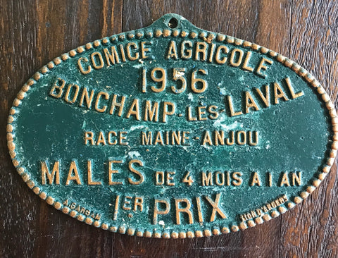 French Agriculture Award Plaque Anjou Cattle Race Fair 1956 Bonchamp Les Laval