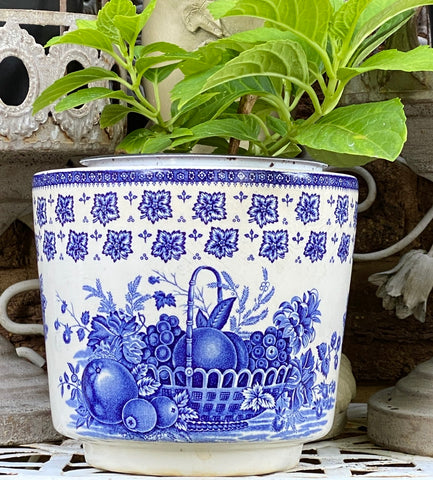 Blue & White Transferware Flower Planter Cache Pot Vintage Wedgwood