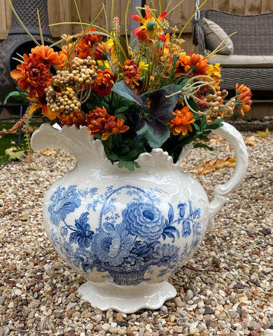 Huge! English Victorian Blue Transferware Charlotte Floral Ornate Wash Pitcher