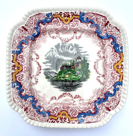 "Very RARE Two Color Red & Black Transferware 8"" Square Plate Spode Copeland Continental Views Hand Painted"