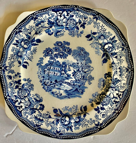 Blue Transferware square Salad Plate Tonquin Wading Swans Waterfall Roses Sail Boat