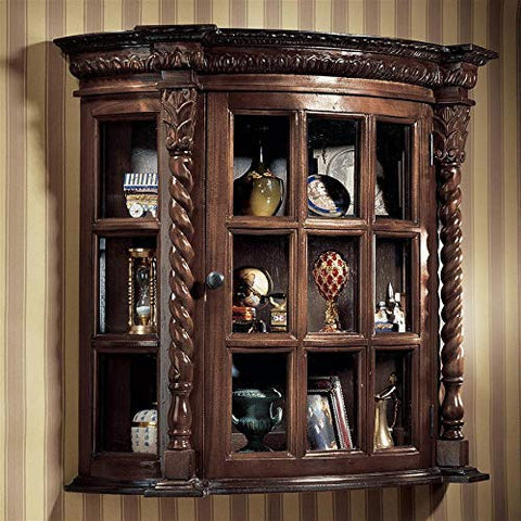 English Country Curve Front Barley Twist Mahogany Hanging Wall Curio Cabinet / Shelf