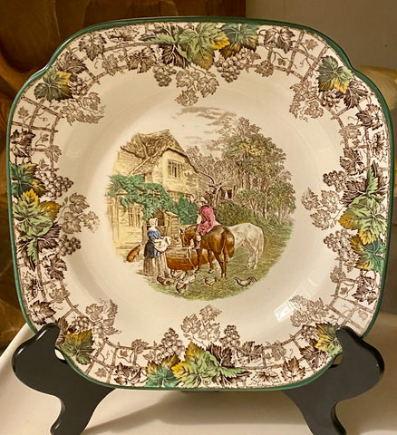 Spode Copeland Brown Transferware Square Plate Farm Dog Roosters Chickens
