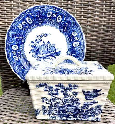 RARE Antique Victorian Staffordshire Blue English Transferware  Bird & Nest  Basket Box Aesthetic Movement