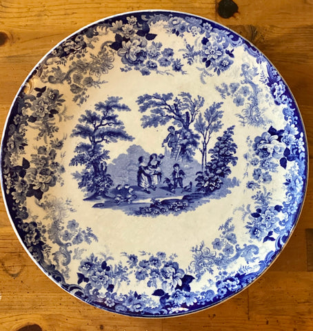 "HUGE Minton Blue Transferware 15"" Charger Platter Victorian Children Playing"