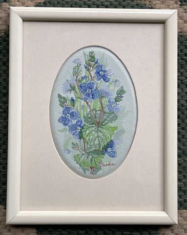 Vintage English Woven Silk Blue/Lavender Speedwell Flowers Matted in Cream Frame