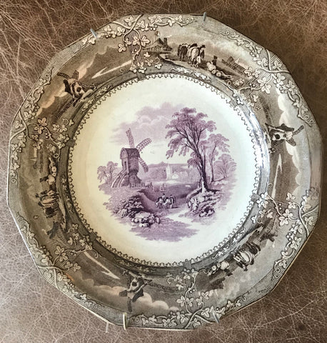 Antique Early Staffordshire 1850's  Purple Brown Bi-Color Transferware Plate Cows Windmill Trellis Eon