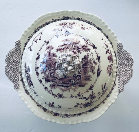 Mason's Romantic Purple Transferware Footed Covered Dish / Tureen with Tab Handles