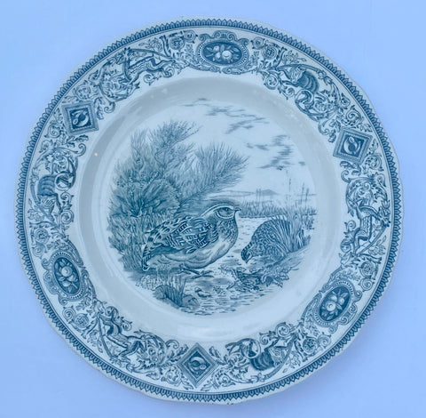 Dark Teal Blue Transferware Plate Masons Game Birds Quail