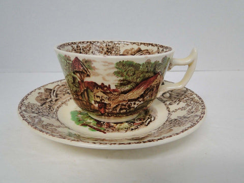 Rural Scenes Poly Brown Transferware Cup and Saucer Pastoral Mother Child Farm Cows