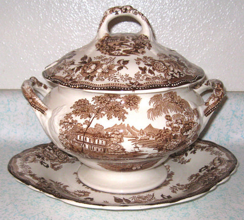 Brown English Transferware Soup Tureen and Platter / Underplate  Tonquin Flowers Roses  Clarice Cliff