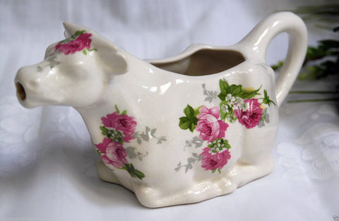 Vintage Ironstone Cow Shaped English Pitcher / Creamer Pink Roses Country French