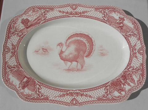 Antique Red Pink Transferware Thanksgiving Turkey Platter Crown Ducal Colonial Times