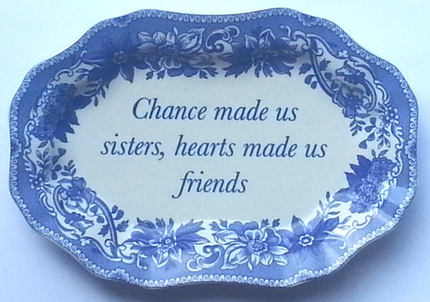 Spode Blue Transfer Ware Miniature Platter Tray or Trinket Dish Chance Made Us Sisters - Mementos