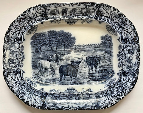 Scenic Cattle Drive Cow Platter Antique Wedgwood Dark Navy Flow Blue Transferware
