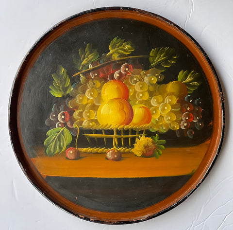 Vintage Hand Painted Round Serving Wood Tole Tray Basket of Fruits