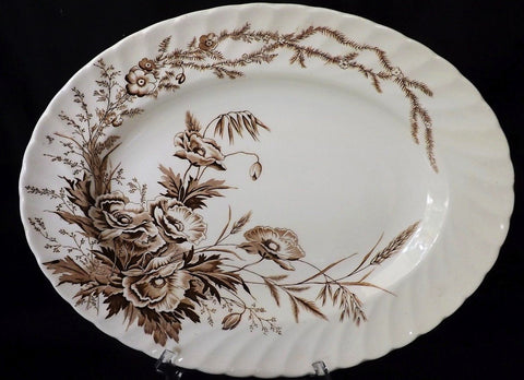 Vintage Clarice Cliff English Brown Transferware Platter Harvest Poppies Ironstone