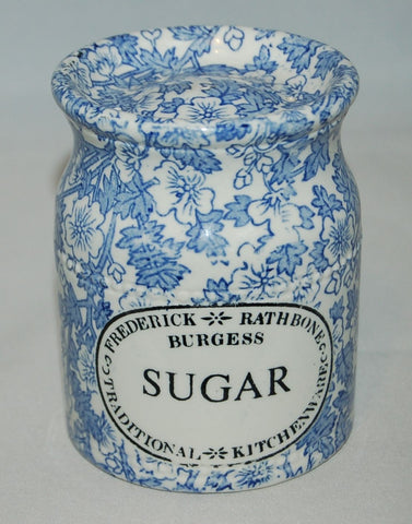 Blue English Ironstone Chintz Transferware Advertising SUGAR Shaker Lace Flowers and Scrolls - Kitchen Decor
