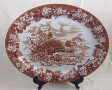 "21"" Vintage Huge Brown Toile Transferware Thanksgiving Dinner Tom Turkey Platter  English Ironstone Turkey Platter Enoch Woods  Circa 1930's"