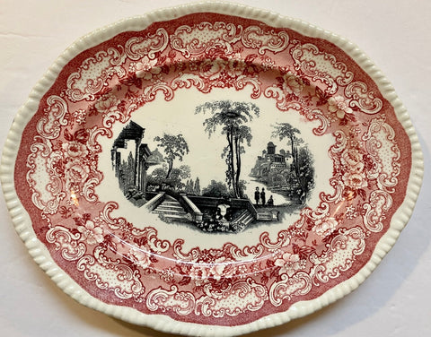 Bishop & Stonier Athena Oval Platter Bi Color Transferware Red & Black Victorian Scrolls Roses