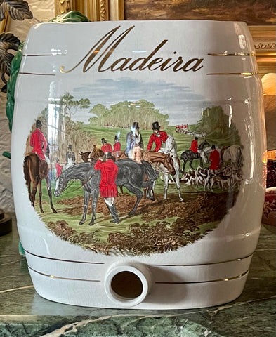 19-20C Antique English Equestrian Hunt Scene MADEIRA Liquor Keg Spirits Barrel  IDEAL FOR LAMP