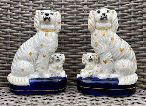 Pair Staffordshire Spaniel Mom & Pup Fitz & Floyd Dogs English Country Decor