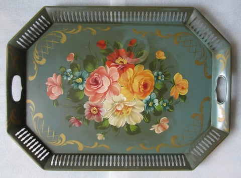"Huge 24"" Vintage Green Tole Tray Toleware Hand Painted Plethora of Flowers"