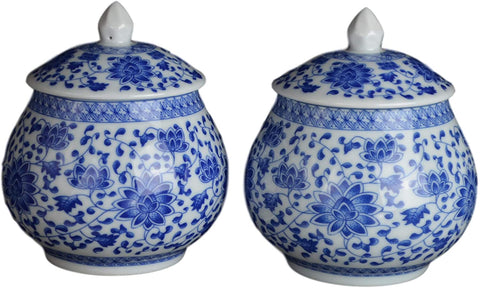 Pair of Blue & White Chinoiserie Blue Bells Bloom Tea Caddy / Ginger Jars