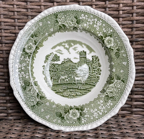 Green Transferware Soup Plate Grazing Horses & Foal in Meadow w/ Rose Thistle Clover Border
