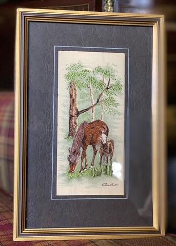 Vintage English Woven Silk Forest Ponies Matted & Gold Frame