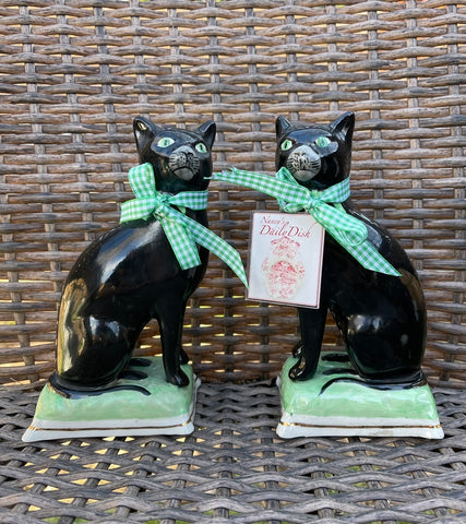 "Vintage 8"" Pair English Staffordshire Black Cat Figurines on Green Base"