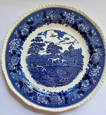 "13"" Blue Transferware  Wall Plaque Charger Platter Grazing Cattle Cows Sheep Horses w/ Rose Border English Scenic"