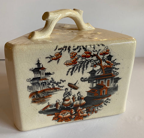 Antique English Victorian Transferware Cheese Keep Triangle Chinoiserie