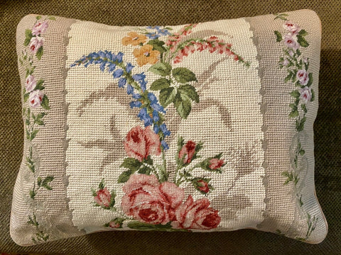 New French Victorian Floral Needlepoint Petit Point Pink Green Blue Pillow Cover
