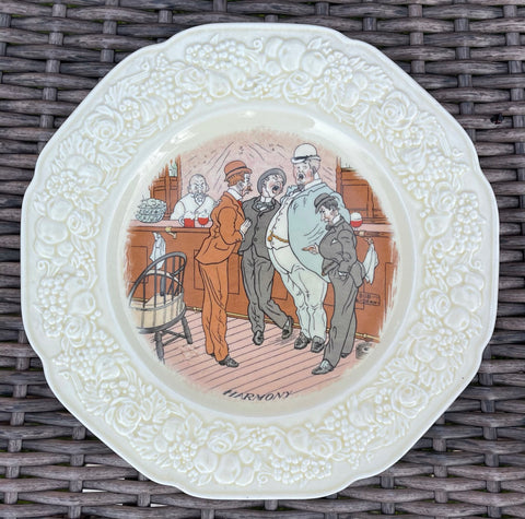 "Antique English Creamware Transferware ""HARMONY"" Pub Plate / Bar Decor # 3 of 6"
