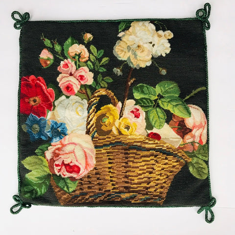 New Basket of Roses & Flowers Floral Needlepoint Petit Point Pink Green Blue Red Pillow Cover