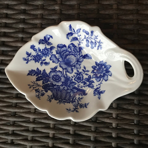 Blue & White Transferware Leaf Shaped Dish Charlotte Basket of Flowers