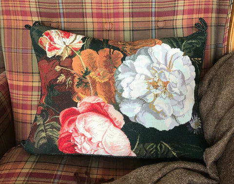 Delft Dutch Masters Spring Parrot Tulip Rose Needlepoint Petit Point Pillow Cover