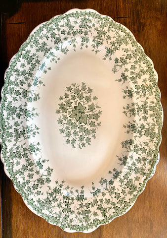 "Lg 16"" English Ivy Green Transferware Tab Handled Platter Crown Ducal Circa 1930s"