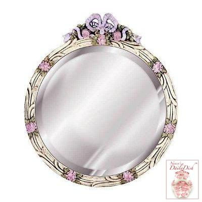Hand Painted Pink Roses w/ Blue Bow Top Round Mirror