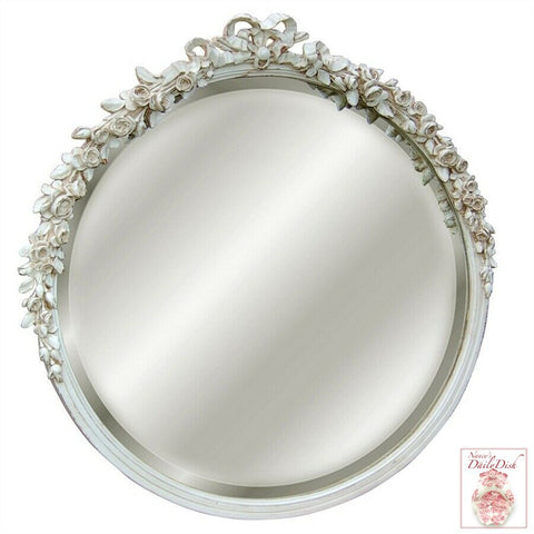 Roses & Ribbon Round Beveled Bath / Wall Hand Painted Distress White Mirror