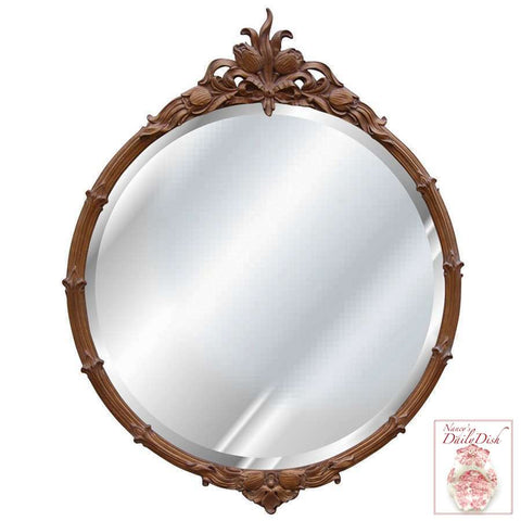 Dutch Victorian Tulip Topped Beveled Round Golden Bronze Mirror
