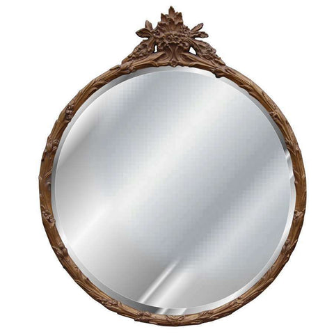 French Harvest Wheat Framed Flower Basket Beveled Round Mirror